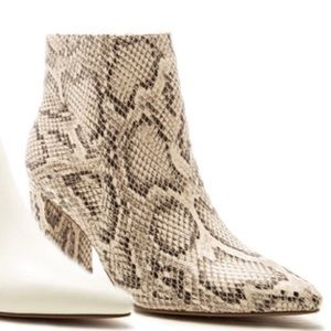 Qupid Pointed Toe Python Snake Heeled Bootie